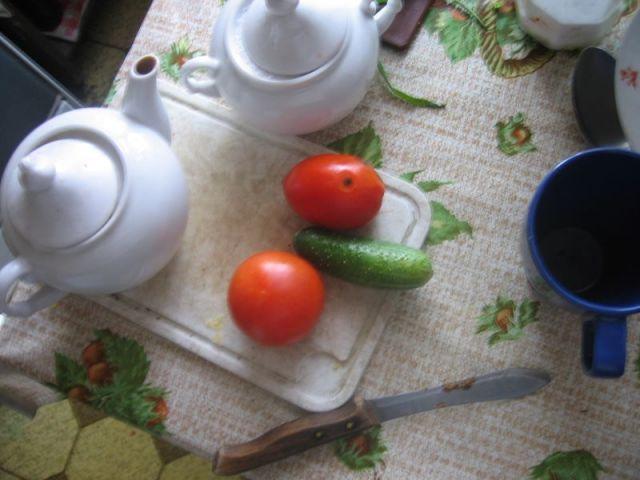 На самом деле так, эти овощи я положил не специально. С утра