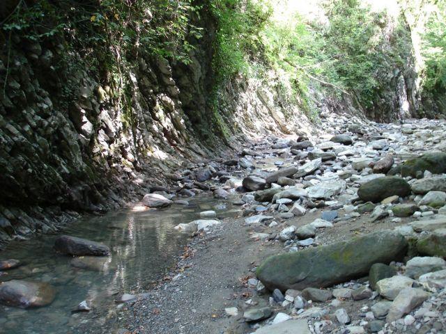 Горная речка, а чуть дальше водопад.  Лазаревское 2006.